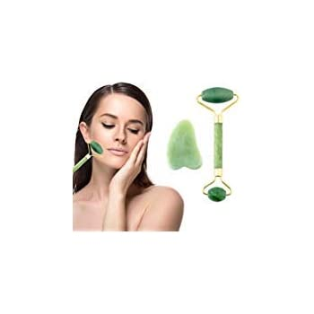 Jade Roller Gua Sha Scraper - 100% Real Natural Jade Facial Roller & Gua Sha Scraping Massage...