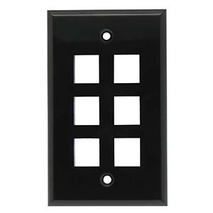 InstallerParts 6 Port Keystone Wallplate Black Smooth Face
