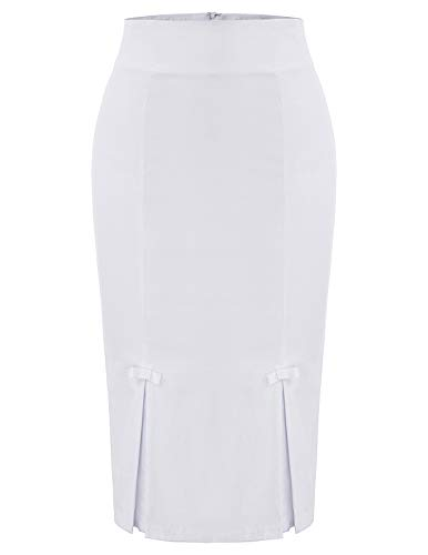 Plus Size Vintage White Skirt Women's Wear to Work Stretchy Office Pencil Skirt XXL BP587-5