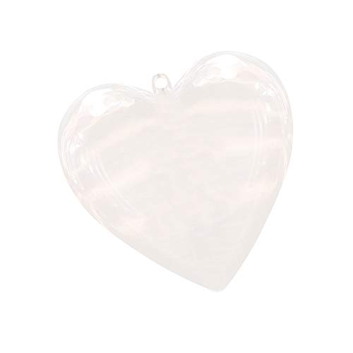 Lovind Clear Transparent Plastic Hanging Hollow Fill-able Pretty Heart-Shaped Ball Separable Ornament Arts Crafts for Christmas Tree Party Decoration Container Ornament Gift Candy Box x1 ()