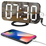 LED Digital Alarm Clock with Large 6.5 Easy-Read Display, Easy Snooze Function, Diming Mode, Mirror Surface, Dual USB Charging Ports for Bedroom, Living Room, Office, Travel