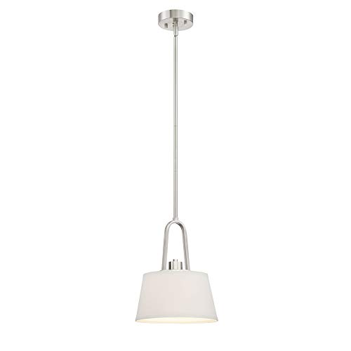 Satin Platinum One Light Pendant - Wiz Connected Lighting Smart Fixture Satin Platinum Hanging Pendant with White Fabric Shade and A19 RGB+ Color Changing, Tunable and Dimmable Bulb Included, Use with Alexa and Google Home, No Hub