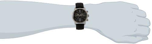 Zeppelin herr platt kronograf klocka 73862 med svart urtavla och rem