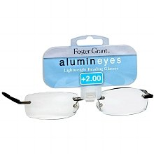 (+ BONUS) Foster Grant / Magnivision +2.75 ALUMINEYES Reading Glasses - Rimmless Lens with Lightweight Gunmetal Arms -H29- + + 1 FREE BONUS MICRO-SUEDE CLEANING CLOTH ()