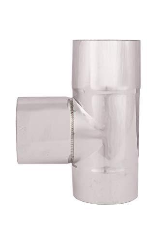 Tubos de escape de estufa pellets acero inoxidable 80mm AISI 304 2m. Revestimiento chimenea recto 90°Codo T Tapón de limpieza Conector acoplamiento rosetón ...