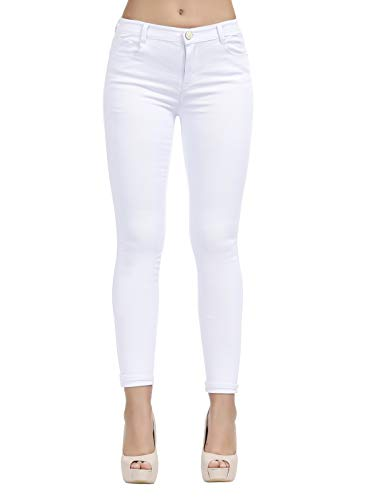 TENGFU Women's Juniors Mid-Rise Distressed Slim Fit Stretchy Skinny Jeans Jegging (14, White 014)