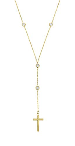 Amata Fine Jewelry 18K Yellow Gold Plated Sterling Silver CZ Rosary Cross Necklace for Women, 18