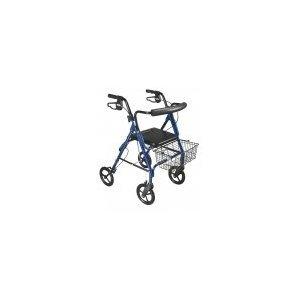 750NB - DLite Lightweight Walker Rollator with 8 Wheels and Loop Brakes, Blue -