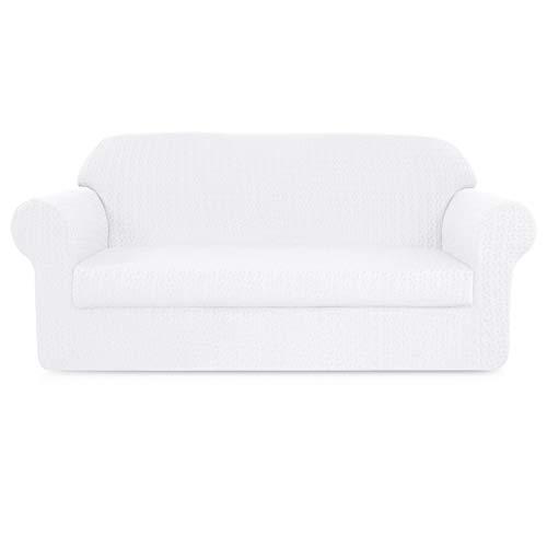 - Subrtex 2-Piece High Stretch Sofa Slipcovers Durable Soft Jacquard Embossed Fabric, Machine Washable Sofa Covers, 2 Seater (Loveseat, White Embossed)