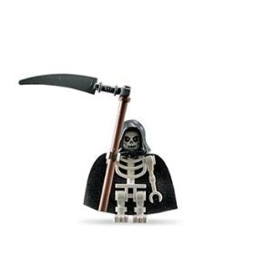 Skeleton (Loose) Lego Castle Figure with Scythe and Cape -