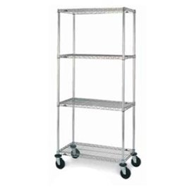 60 in. Chrome-Plated Stem Caster Mobile Wire Shelving Unit, Polyurethane Casters - N466EC - - Stem Casters Chrome Plated