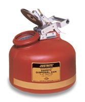 JUSTRITE Manufacturing 14765 Wide Mouth Liquid Disposal Red Flammables Can, 5 gal Capacity, Round Shape, Stainless Steel, 20