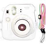 SAIKA Transparent Crystal Case Cover for Fujifilm Instax Mini 8 8+ 9 Instant Film Camera With Rainbow Neck Strap