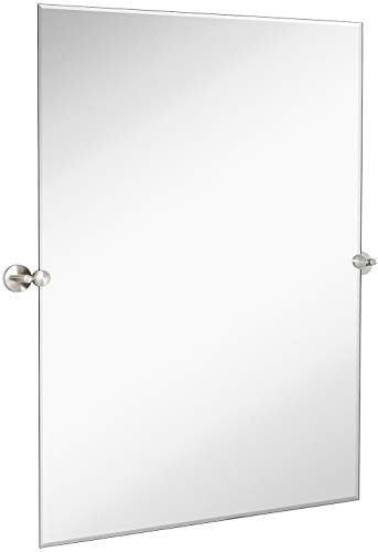 Hamilton Hills Large Pivot Rectangle Mirror with Brushed Chrome Wall Anchors | - Own Bathroom Frame Mirrors Your