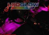 LEDGlow 4pc Purple LED Car Interior Underdash Lighting Kit - Universal Fitment - Music Mode - Auto Illumination Bypass Mode