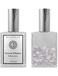 (7th Chakra Balancing Oil - Sahasrara Crown Chakra Aromatherapy - Roll On Pulse Points - Infused with White Quartz Crystal and Lavender Essential Oil - BIOS APOTHECARY)