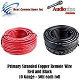 10 GAUGE WIRE RED & BLACK POWER GROUND 50 FT EACH PRIMARY STRANDED COPPER CLAD 21aj16Y8WGL