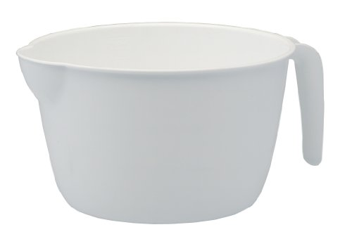 United Solutions KW0001 White Plastic Three Quart Batter Bowl with Handle - 3QT Plastic Batter Bowl with Handle for Easy Pouring in White