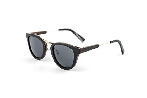 Classic Womens Wooden & Stainless Steel Sunglasses Classic Frames with Polarized Dark Lenses
