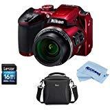 Nikon Coolpix B500 Digital Point & Shoot Camera, RED - Bundle with Camera Bag, 16Gb SDHC Card, Microfiber Cloth