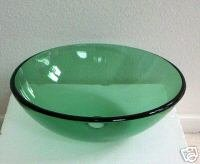 1/2 Tempered Natural Clear Green Glass Vessel Vanity Sink