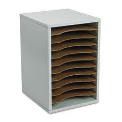 -- Wood Vertical Desktop Literature Sorter, 11 Sections 10 5/8 x 11 7/8 x 16, Gray