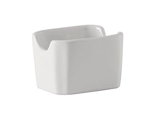 White Sugar Packet Holder (Tuxton BWQ-034 Vitrified China Sugar Packet Holder, 3-1/2