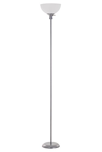 (Catalina Lighting 20641-000 Transitional 3-Way Metal Torchiere Floor Lamp with White Shade, Silver Classic)