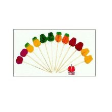 4 In. Paper Fruit Picks (Assorted Colors), 24 Case --- 100 Count