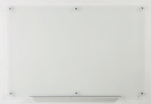 """Frosted Glass Dry-Erase Board - 39 1/2"""" x 59"""" - Includes Board and Aluminum Marker Tray"""