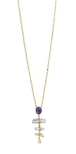 Gas Bijoux Collier avec pendentif en Quartz violet - Plaqué or - Femme