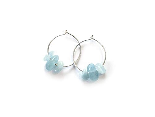 Gorgeous! Aquamarine pebble earrings with sterling silver ear hoops - modern minimal eco jewelry - hand made - so pretty!