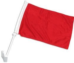 Red Car Flag - 12x18 Solid Red Advertising Double Sided Car Window Vehicle 12