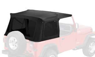Bestop 55729-15 Black Denim Supertop Replacement Skins w/ Tinted Windows 1976-1995 Jeep CJ7 and Wrangler - Bestop Replacement Windows