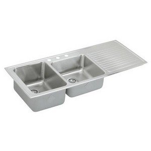 (Elkay ILGR5422L4 Gourmet Lustertone Double Bowl Sink with Four Holes and Right Ribbed Area, Stainless Steel)