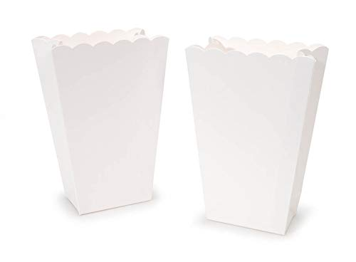 Scalloped Edge Popcorn Favor Boxes in White - 6 ct for $<!--$4.00-->