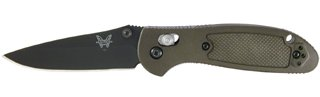Benchmade - Mini Griptilian 556 EDC Manual Open Folding Knife Made in USA, Drop-Point Blade, Plain Edge, Coated Finish, Olive Handle (Benchmade Automatic Knives)
