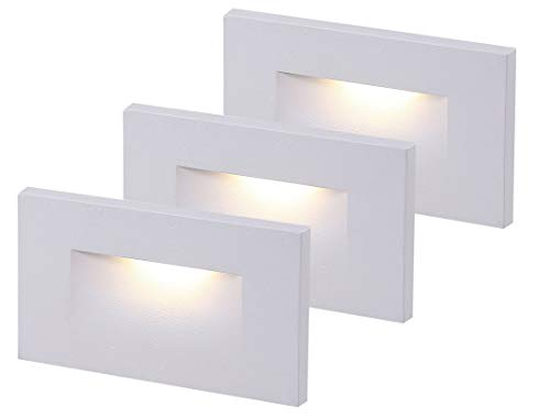 - Cloudy Bay 120V LED Indoor Outdoor Step Light,3-Pack,3000K Warm White,Stair Light,White Finish