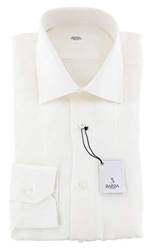 Barba Napoli Solid Button Down Spread Collar Linen Slim Fit Dress Shirt, Size xx-Small 14.5 Cream Barba Napoli Linen Shirt