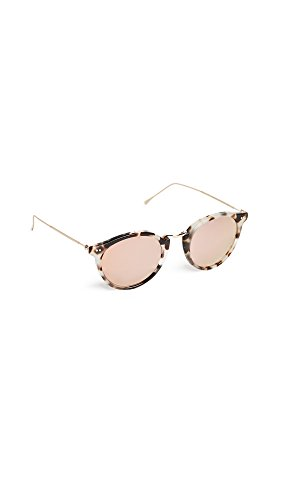 Illesteva Women's Portofino Mirrored Sunglasses, White Tortoise/Rose Gold, One ()