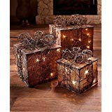 GetSet2Save LLC Lighted Gift Box Decor (Natural) (1)