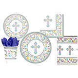 Blessed Day Inspirational Cross Party Supply Pack for 18 Guests: Bundle Includes Dinner Plates, Dessert Plates, Napkins, Cups, and Tablecloth -