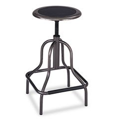 (-- Diesel Backless Industrial Stool, High Base, Black Leather)