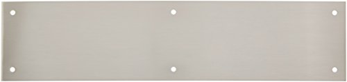 (Baldwin 2123 3-1/2 Inch x 15 Inch Solid Brass Square Edge Push Plate, Satin Nickel)