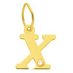 So Chic Bijoux © Pendentif Lettre X Initiale Alphabet Diamant Blanc Or Jaune 750/000 (18 carats)