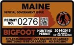 "Maine ME Bigfoot Hunting Permit 2.4"" x 4"" Decal Sticker"