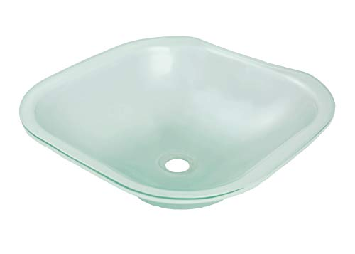 (DECOLAV 1139U-FNG Translucence Square 12mm Undermount Glass Bathroom Sink, Frosted Natural Glass)