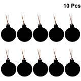 SUPVOX 10PCS Ball Shape Hanging Chalkboard Signs Mini Decorative Blackboard Hanging Tags Wooden Christmas Hanging Ornament -