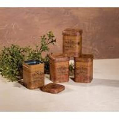 Vintage Look FOOD SAFE Herb Tins Spice Containers Storage Primitive Decor