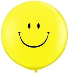 "36"" Smiley Face Jumbo Latex Balloons - Pack of 5"